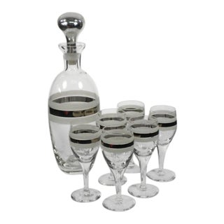 Vintage Mid-Century Modern Decanter and Matching Glasses - Set of 7 For Sale