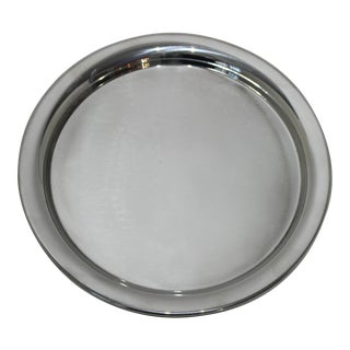 Vintage Cartier Serving Tray Round Polished Pewter Minimalist With Signature For Sale