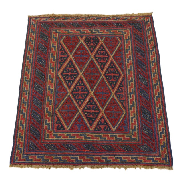 "Vintage Tribal Turkish Kilim Rug - 3'7"" x 4' For Sale"