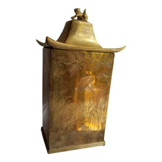 Vintage Brass Etched Chinoiserie Hollywood Regency Tea Caddy For Sale