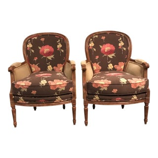 Wesley Floral Hall Chairs - A Pair For Sale