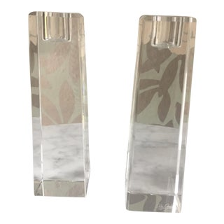 Oleg Cassini Crystal Pillar Candle Holders - a Pair