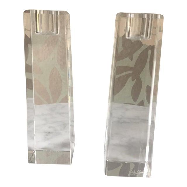 Oleg Cassini Crystal Pillar Candle Holders A Pair Chairish