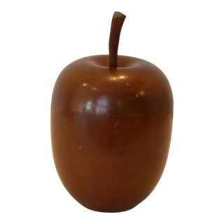 Vintage American Turned Brown Wooden Apple Box For Sale