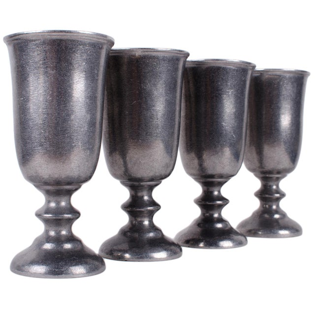 Wilton Armetale Pewter Plough Tavern Goblet - Set of 4 For Sale - Image 5 of 5
