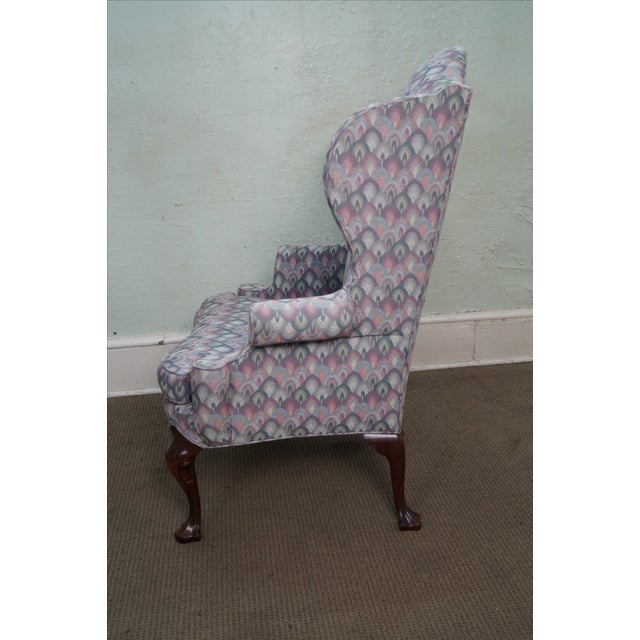 Queen Anne Solid Mahogany Queen Anne Wing Chair by Southwood For Sale - Image 3 of 10