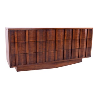 Mid Century Lane Brutalist Chevron Base 9 Drawer Walnut Lowboy Dresser For Sale