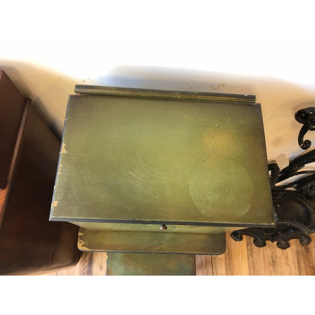1920s Americana Green Wooden Telephone Table For Sale - Image 9 of 11