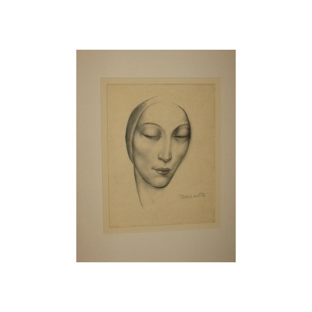 Enzo Baccante Art Deco Pencil Portrait - Image 3 of 6