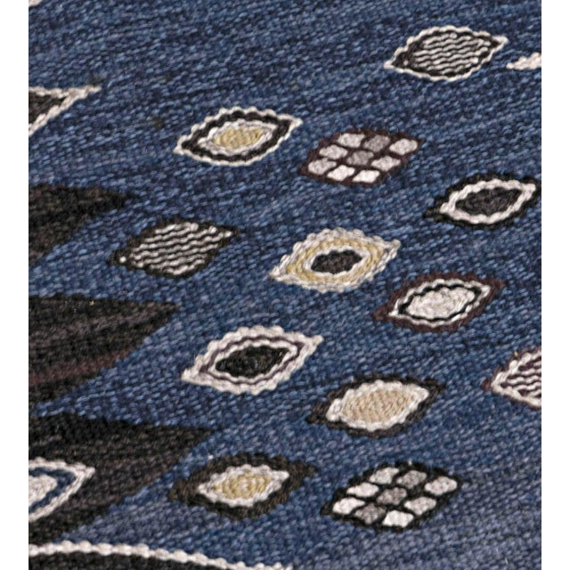 1950s Mid-Century Handwoven Signed Swedish Wool Rug For Sale - Image 5 of 8