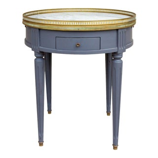 1940s French Louis XVI Style Side Table With Marble Top and Drawers in Charcoal For Sale