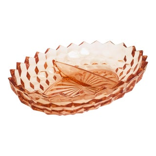 Vintage Blush Pink Divided Glass Serving Dish For Sale