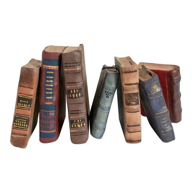 Papier Mache Books, Set of 7 For Sale