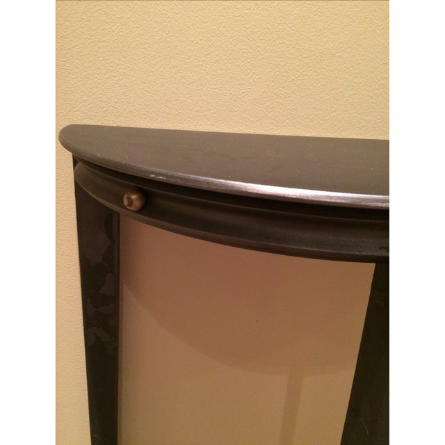 Gun Metal Silver Transitional Demilune Side Table - Image 4 of 6