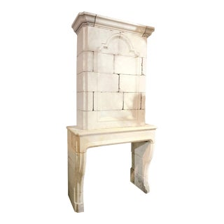 Louis XIV Limestone Mantel, circa 1880 For Sale