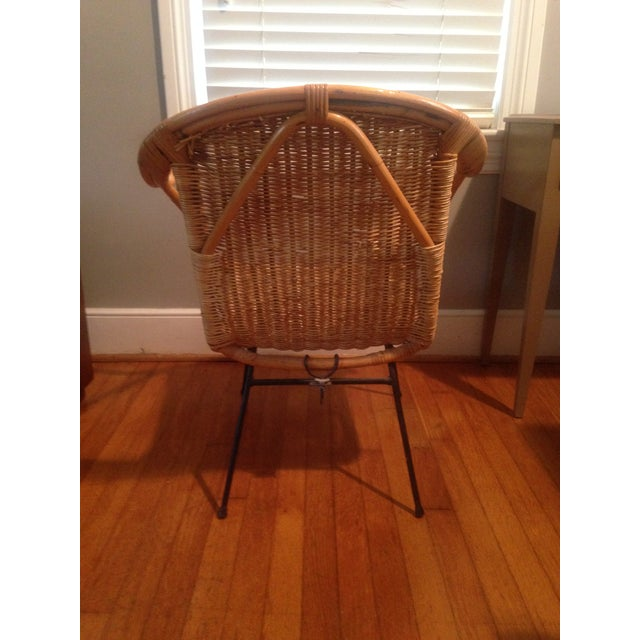 Retro Wicker Metal Leg Chair For Sale - Image 4 of 7