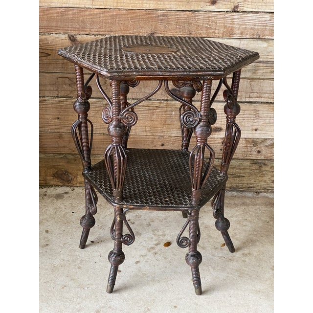 Antique Victorian Heywood Wakefield Wicker Fiddlehead Table For Sale - Image 13 of 13