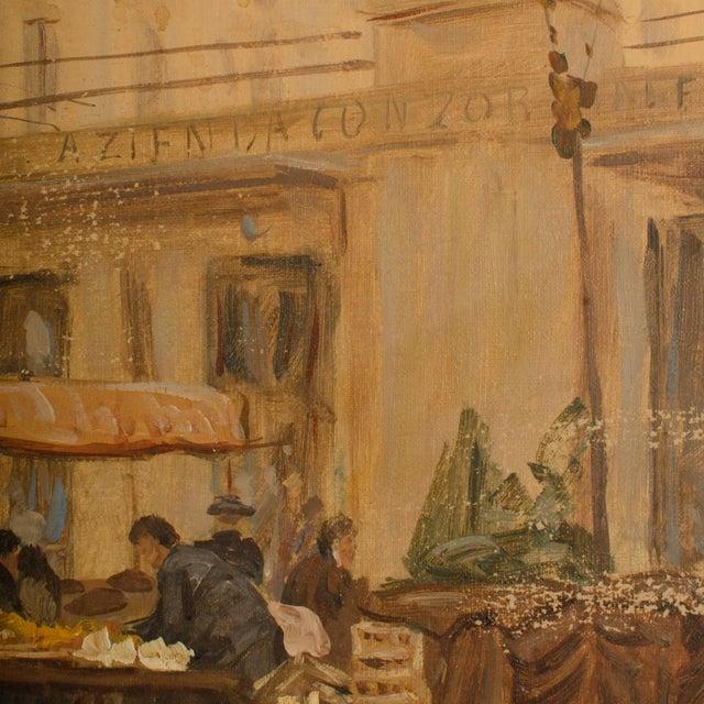"1940s ""Market in Milan"" Street Scene Oil Painting by Joshua Felise Ziro Brevio For Sale - Image 10 of 13"