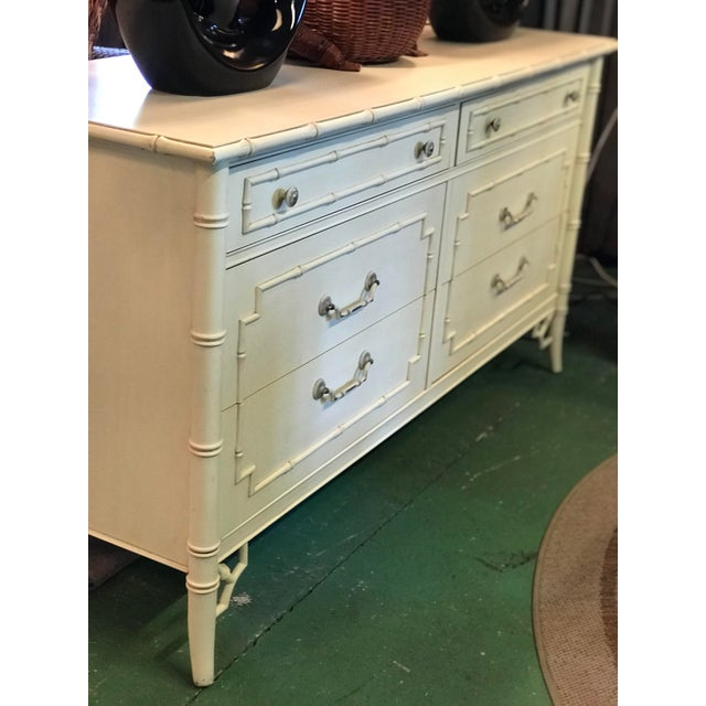 Vintage Thomasville Faux Bamboo Six Drawer Dresser For Sale - Image 10 of 12