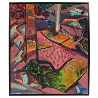 Unknown Abstracted Fauvist Landscape in Pink, Oil on Canvas, Late 20th Century