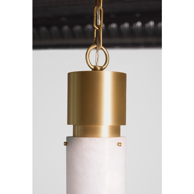 Contemporary Modern Contemporary 000 Pendant in Brass and Alabaster by Orphan Work For Sale - Image 3 of 5