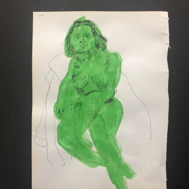 Mid-Century Modern Female Nude in Green For Sale - Image 4 of 4