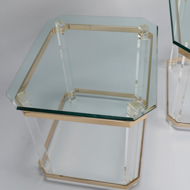 Gold Pair Mid Century Lucite Brass and Glass Side Tables For Sale - Image 8 of 11