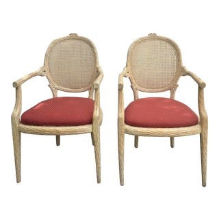 Carved Pair of Faux Bois Armchairs For Sale