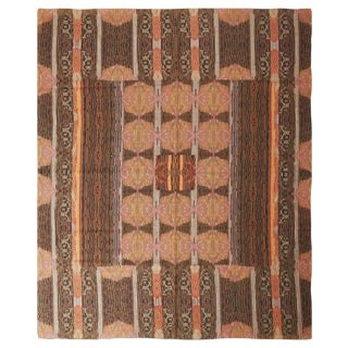 Vintage Van Campen Inspired Pink and Brown Wool Needle Point Rug - 7′6″ × 8′11″ For Sale