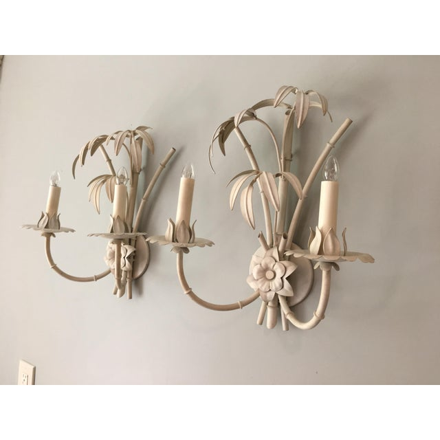 Mid 20th Century 20th Century Art Nouveau Palm Beach Style Wall Sconces - a Pair For Sale - Image 5 of 12
