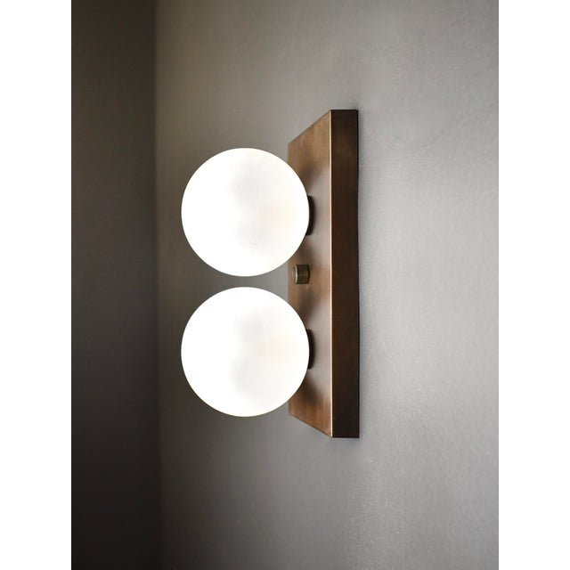 Modern Duo Wall Sconce in Bronze and Blown Opal Glass by Blueprint Lighting, 2020 For Sale - Image 3 of 4