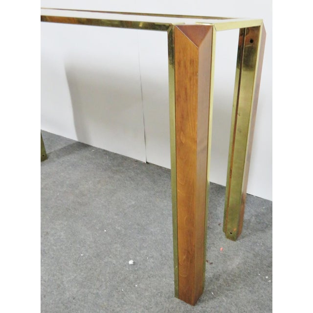 Mid-Century Modern Mid-Century Pace Burl & Brass Console Table For Sale - Image 3 of 7