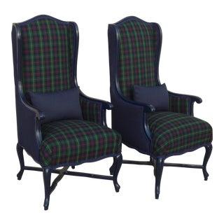 Vintage Tall Navy Tartan Plaid Chairs - A Pair