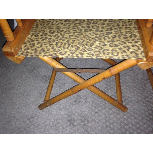 Metal Directors Chairs From Telescope Chair, Leopard Print Fabric, Midcentury, Pair For Sale - Image 7 of 13