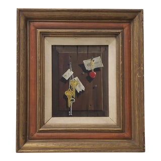 Vintage Still Life Oil Painting by Fischer C. 1967 For Sale