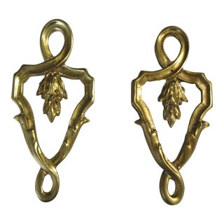 Vintage Brass Ormolu French Regency Hardware Pull Knob Handles - a Pair For Sale