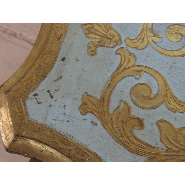 Wood Antique Louis XV Style Distressed Painted Side Table For Sale - Image 7 of 9