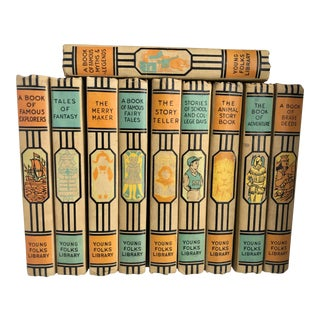 Wonderful Midcentury Teal and Tangerine Books - Set of 10 For Sale
