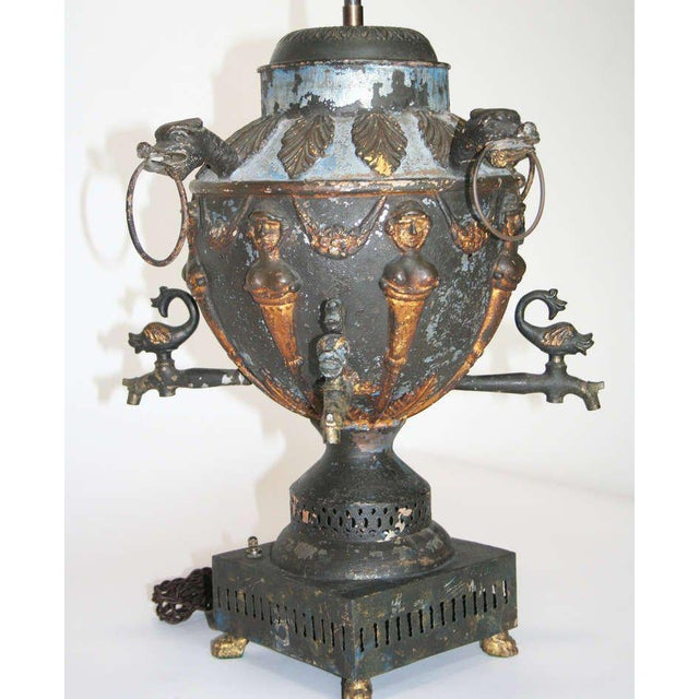 Traditional Antique Tole Samovar Mounted As A Lamp For Sale - Image 3 of 8