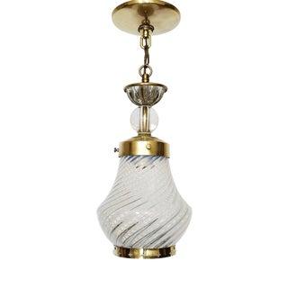 Vintage Vaseline Glass and Brass Pendant For Sale