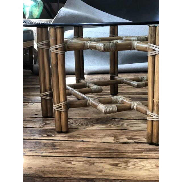 1990s Boho Chic McGuire Round Rattan Coffee Table With Glass Top For Sale - Image 9 of 11