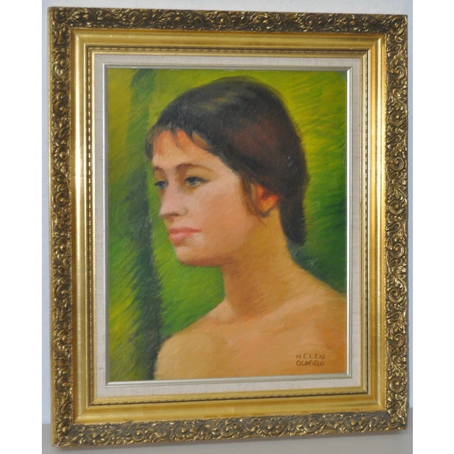 Helen Clark Oldfield (1902-1981) Modernist portrait oil painting, circa 1970. Beautiful texture and color. Oil on Board....