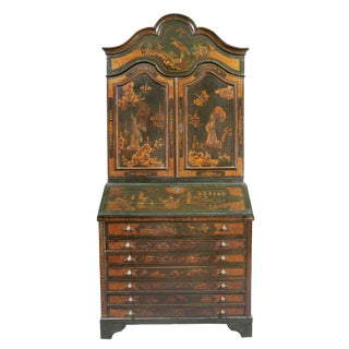 Venetian Rococo Green Japanned Secretary Desk For Sale