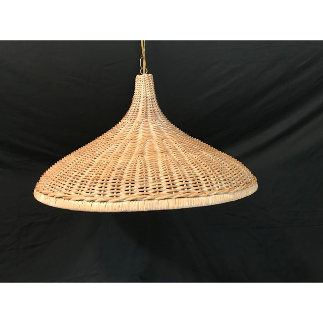 Large vintage raw wicker parasol pendant . Acquired from an estate in SW Florida.