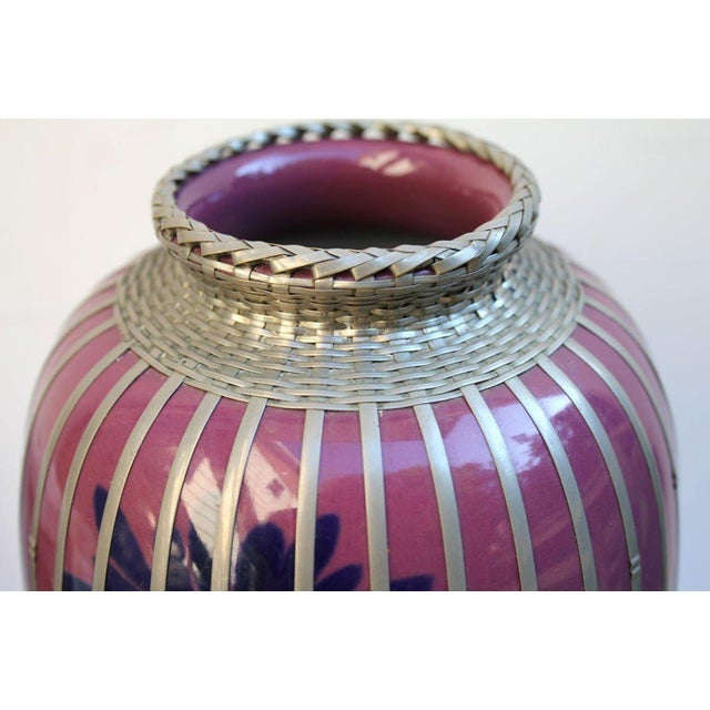 Asian Japanese Silver Plate Overlay Basket Weave Pottery Vase For Sale - Image 3 of 9