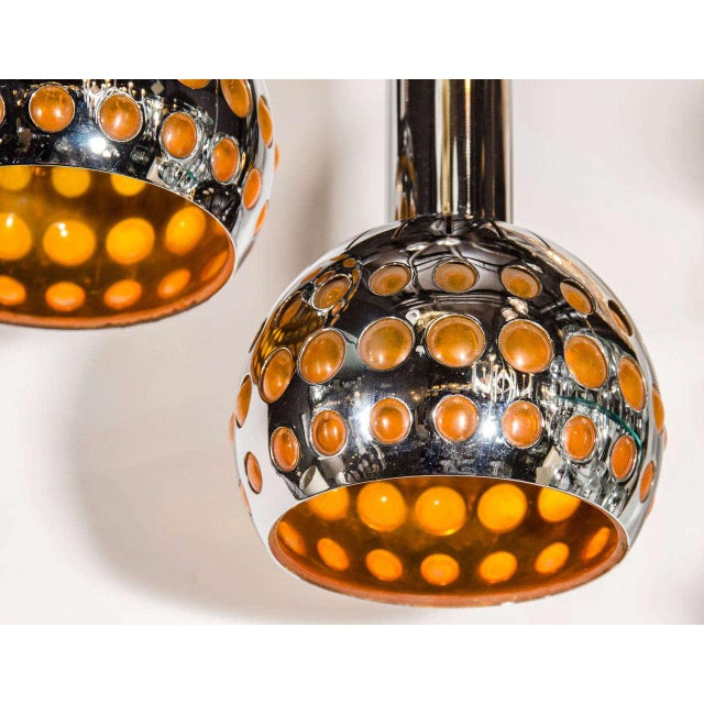Cubism Pair of French Mid-Century Modern Geometric Chrome Pendants Lights For Sale - Image 3 of 7