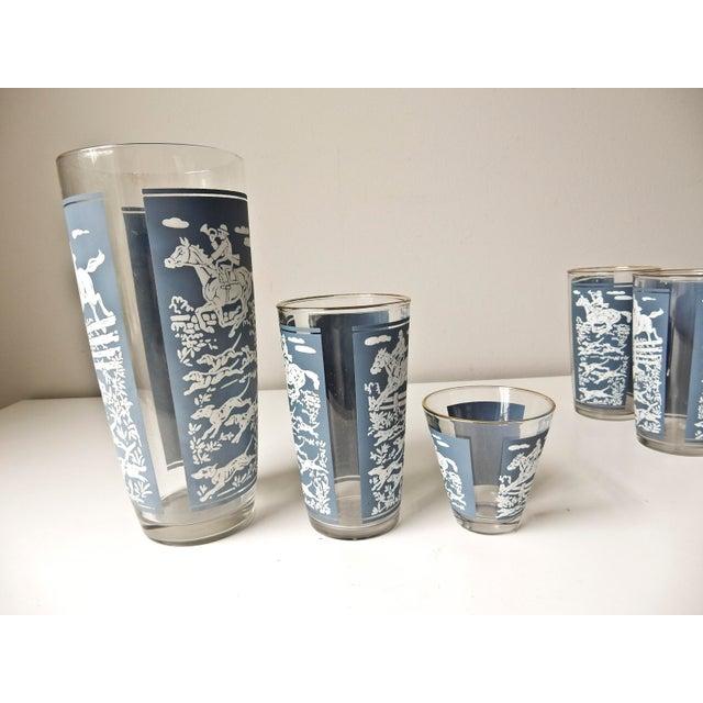 Blue Vintage Cocktail Shaker and Glasses Set - Set of 11 For Sale - Image 8 of 10