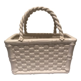 Italian Faux Bamboo Whiteware Basket For Sale