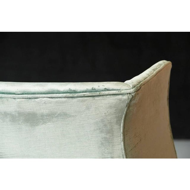 Brass 19th Century Hepplewhite Mahogany Wingback Chair in Silver Striae Velvet For Sale - Image 7 of 9