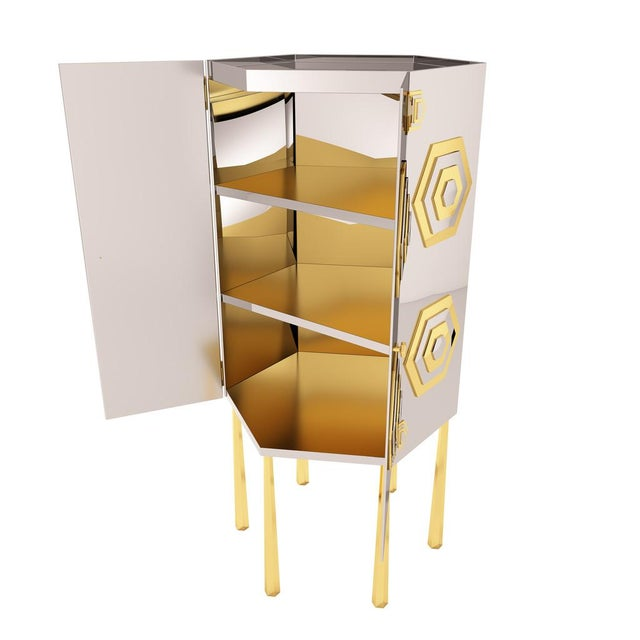 Gold Hex Cabinet by Artist Troy Smith - Contemporary Modern Design - Handmade Furniture - Very Limited Edition For Sale - Image 8 of 11